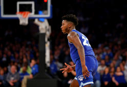 Seton Hall guard Myles Cale (22) reacts after making a 3-point shot against Kentucky during the second half of an NCAA college basketball game, Saturday, Dec. 8, 2018, in New York. Seton Hall won 84-83 in overtime. (AP Photo/Noah K. Murray)