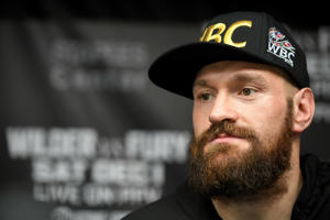 LOS ANGELES, CA - OCTOBER 25: Lineal Heavyweight Champion Tyson Fury answers questions from members of the Los Angeles media during a press conference in advance of his highly anticipated WBC Heavyweight World Championship against undefeated WBC World Champion Deontay Wilder on December 1st at Churchill Boxing Club on October 25, 2018 in Los Angeles, California. (Photo by John McCoy/Getty Images)