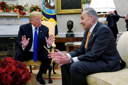 U.S. President Donald Trump talks to Senate Minority Leader Chuck Schumer (D-NY) as he meets with Schumer and House Speaker designate Nancy Pelosi (D-CA) in the Oval Office of the White House in Washington, U.S., December 11, 2018. REUTERS/Kevin Lamarque