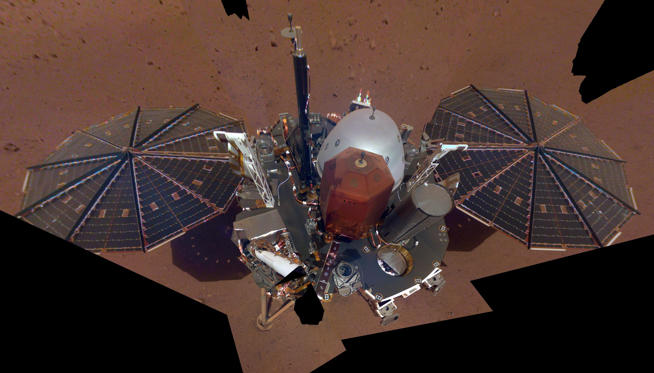 Slide 1 of 70: InSight's First Selfie