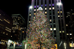 New York City, NY, USA – December 28, 2014: Rockefeller Center Christmas Tree lit up for the holidays.