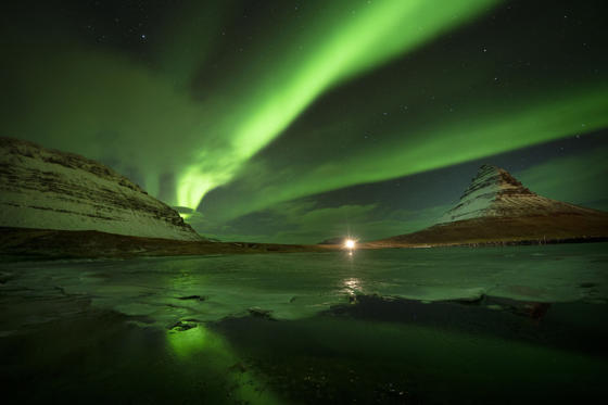 Slide 1 of 41: Aurora Borealis, the Northern Lights, over Kirkjufell, a 463 metre mountain on the west coast of Iceland.