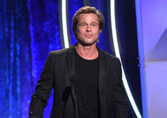BEVERLY HILLS, CA - NOVEMBER 04: Brad Pitt speaks onstage during the 22nd Annual Hollywood Film Awards at The Beverly Hilton Hotel on November 4, 2018 in Beverly Hills, California. (Photo by Kevin Winter/Getty Images for HFA)