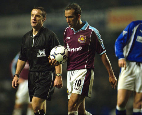 Slide 1 of 38: West Ham's Paolo Di Canio picks the ball up during play so that Everton's keeper Paul Gerrard can get treatment