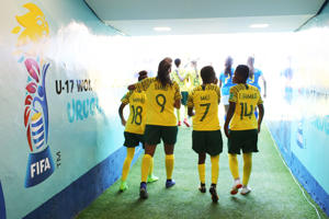 Miche Minnies, Chelsea Daniels, Khunjolwa Mali and Thubelihle Shamase of South Africa walk to the pitch to start the second half during the FIFA U-17 Women's World Cup Uruguay 2018 group B match between South Africa and Brazil at Estadio Charrua on November 20, 2018 in Montevideo, Uruguay.