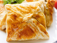 Homemade puff pastry with chicken and mushroom