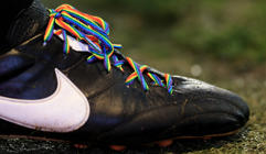 NOTTINGHAM, ENGLAND - DECEMBER 01: A close up of the 'Rainbow laces' worn by a lineman in support of the Stoneman Charity during the Sky Bet Championship match between Nottingham Forest and Ipswich Town at City Ground on December 01, 2018 in Nottingham, England. (Photo by Matthew Lewis/Getty Images)