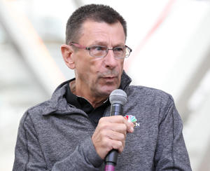Paul Sherwen attend the team presentation for the 13th annual Amgen Tour of California 2018 on May 11, 2018 in Long Beach, California.