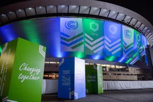 KATOWICE, POLAND - 2018/12/02: UN COP 24 flags are seen hanging on the Spodek arena complex during the UN COP24 Climate Change Conference 2018. The 2018 United Nations climate change conference will be held between 3rd to 14th in Katowice, Poland.