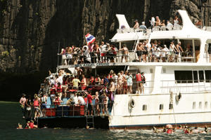 Mass tourism is causing water shortages on Koh Phi Phi islands. Koh Phi Phi Le island is famous for its Ao Maya Bay and its beach, 'Maya Beach', where the actor Leonardo DiCaprio starred in 'The Beach'