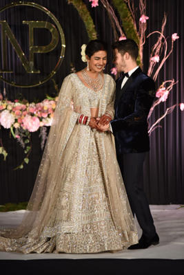 Priyanka Chopra and Nick Jonas hosted their wedding reception at the Taj Mahal Palace hotel in Delhi on December 4.