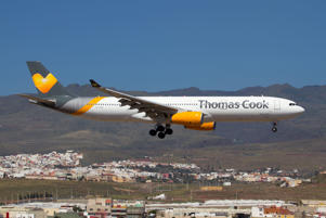 GRAN CANARIA AIRPORT, LAS PALMAS, SPAIN - 2018/04/16: Thomas Cook Airlines Scandinavia Airbus 330-300 landing at Las Palmas Gran Canaria airport. (Photo by Fabrizio Gandolfo/SOPA Images/LightRocket via Getty Images)