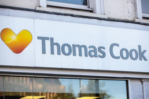 LONDON, ENGLAND - SEPTEMBER 24: A branch of Thomas Cook travel agents stands on Islington High Street on September 24, 2018 in London, England. Thomas Cook shares fell by 25% after the company reported a 15% drop in its full-year profits, which they blame on the summer heatwave. (Photo by Jack Taylor/Getty Images)