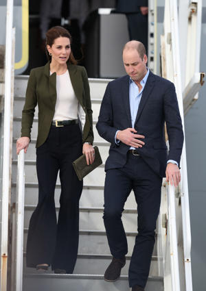 The Duke and Duchess of Cambridge arrive at RAF Akrotiri in Cyprus for a visit to honour military personnel serving overseas during the Christmas period.