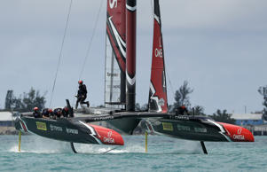 Emirates Team New Zealand helmsman Peter Burling crosses the boat in race nine against Oracle Team USA during America's Cup sailing competition Monday, June 26, 2017, in Hamilton, Bermuda.