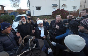 Imam Mohammed Amin Pandor speaking to the media at a peaceful protest outside Almondbury Community School, in Huddersfield