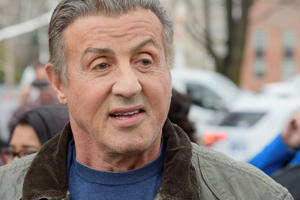 Actor, director Sylvester Stallone and Philadelphia Major Jim Kenney make an appearance at the Rocky statue at the Philadelphia Museum of Art, in Philadelphia, PA on April 6, 2018. The legendary 'Rocky Balboa' actor returns to the city for the start of the filming of Creed II. (Photo by Bastiaan Slabbers/NurPhoto via Getty Images)