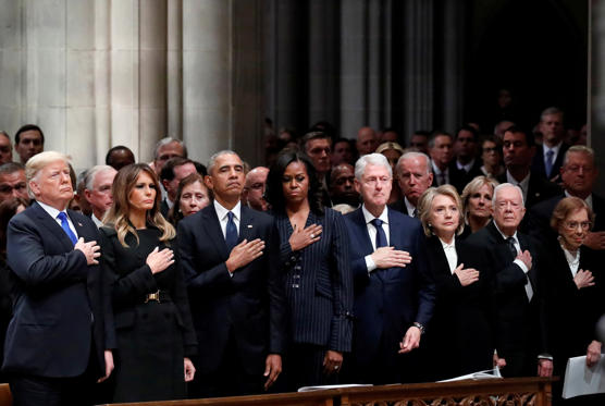 Slide 1 of 40: U.S. President Donald Trump, first lady Melania Trump, former President Barack Obama, former first lady Michelle Obama, former President Bill Clinton, former Secretary of State Hillary Clinton, former President Jimmy Carter and former first lady Rosalynn Carter participate in the State Funeral for former President George H.W. Bush, at the National Cathedral, Wednesday, Dec. 5, 2018 in Washington. Alex Brandon/Pool via REUTERS TPX IMAGES OF THE DAY