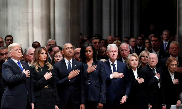 Slide 1 de 37: U.S. President Donald Trump, first lady Melania Trump, former President Barack Obama, former first lady Michelle Obama, former President Bill Clinton, former Secretary of State Hillary Clinton, former President Jimmy Carter and former first lady Rosalynn Carter participate in the State Funeral for former President George H.W. Bush, at the National Cathedral, Wednesday, Dec. 5, 2018 in Washington. Alex Brandon/Pool via REUTERS TPX IMAGES OF THE DAY