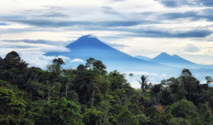 Tomohon, North Sulawesi, Indonesia - October 03, , Mountain landscape with Mount Lokon in Tomohon