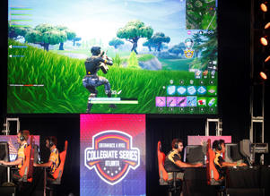 ATLANTA, GA - NOVEMBER 16: Students from Louisiana State University and The University of Washington compete in the online game Fortnite during DreamHack Atlanta 2018 at the Georgia World Congress Center on November 16, 2018 in Atlanta, Georgia. (Photo by Chris Thelen/Getty Images)