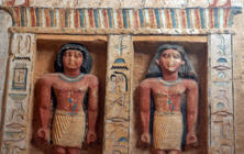 "Relief statues are seen at the recently uncovered tomb of the Priest royal Purification during the reign of King Nefer Ir-Ka-Re, named ""Wahtye"", at the site of the step pyramid of Saqqara, in Giza, Egypt, Saturday, Dec. 15, 2018.The Egyptian Archaeological Mission working at the Sacred Animal Necropolis in Saqqara archaeological site succeeded to uncover the tomb, Antiquities Minister Khaled el-Anani, announced.(AP Photo/Amr Nabil)"