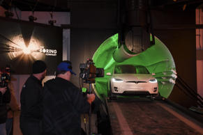 HAWTHORNE, CA - DECEMBER 18: Elon Musk, co-founder and Chief Executive Officer of Tesla Inc., arrives in a modified Tesla Model X electric vehicle during an unveiling event for The Boring Company Hawthorne test tunnel December 18, 2018 in Hawthorne, California. On Tuesday night, The Boring Company will officially open the Hawthorne tunnel, a preview of Musk's larger vision to ease traffic in Los Angeles. (Photo by Robyn Beck-Pool/Getty Images)