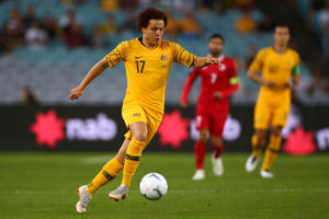 Mustafa Amini of Australia kicks the ball during the International Friendly Match between the Australian Socceroos and Lebanon at ANZ Stadium on November 20, 2018 in Sydney, Australia.