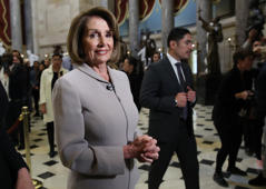 WASHINGTON, DC - JANUARY 02: (EDITOR'S NOTE: Alternate crop.) House Democratic Leader Nancy Pelosi (D-CA) is interviewed while walking through the U.S. Capitol on January 02, 2019 in Washington, DC. Pelosi, who is scheduled to become the next Speaker of the House tomorrow, will meet with other leaders of Congress and U.S. President Donald Trump at the White House later today to discuss border security and ending the partial shutdown of the U.S. government. (Photo by Win McNamee/Getty Images)
