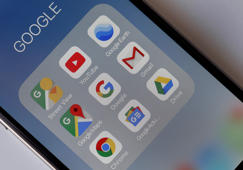 PARIS, FRANCE - OCTOBER 23:  In this photo illustration, the logos of the applications, Street View, YouTube, Google Earth, Google Maps, Google, Gmail, Chrome, Google News and Drive are displayed on the screen of a mobile phone on October 23, 2018 in Paris, France. After being fined 4.3 billion euros last June for a dominant position in research with its Android mobile operating system, Google has decided to comply by charging for its applications and the Play Store to manufacturers who want to sell their mobile devices in Europe and this without integrating Google Search and Google Chrome. From October 29, Google will implement a fairly complex license system for manufacturers who sell Android-powered mobile devices in Europe and want to install the Play Store and its other applications.  (Photo Illustration by Chesnot/Getty Images)