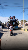 Dozens risk their lives clinging to outside of moving bus in India