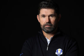 ASCOT, ENGLAND - JANUARY 07:  Padraig Harrington of the Republic of Ireland poses with the Ryder Cup trophy as he is announced as the European Ryder Cup Captain for 2020 during the European Ryder Cup Captain Photo Session at Coworth Park on January 7, 2019 in Ascot, England.  (Photo by Andrew Redington/Getty Images)