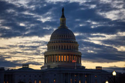 Dawn arrives at the Capitol in Washington, as the partial government shutdown enters day 18, Tuesday, Jan. 8, 2019, as President Donald Trump holds to his border wall funding demands. Trump will speak to the nation tonight about the border in a televised address from the Oval Office.