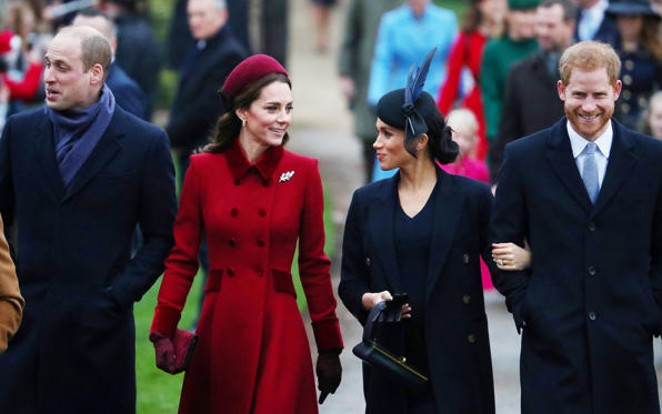 Slide 1 of 12: Prince William, Duke of Cambridge and Catherine, Duchess of Cambridge along with Prince Harry, Duke of Sussex and Meghan, Duchess of Sussex arrive at St Mary Magdalene's church for the Royal Family's Christmas Day service on the Sandringham estate in eastern England, Britain, December 25, 2018. REUTERS/Hannah McKay