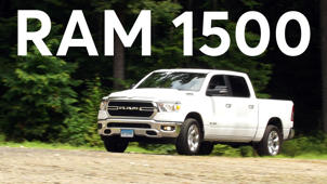 a truck is parked in front of a car: 2019 RAM 1500 Road Test
