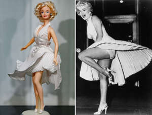 MADRID, SPAIN - FEBRUARY 15: A Marilyn Monroe barbie doll is seen on display at the exhibition 'Barbie, mas alla de la muñeca' ('Barbie, beyond the doll') at Fundacion Canal on February 15, 2017 in Madrid, Spain. (Photo by Eduardo Parra/Getty Images); Marilyn Monroe standing on one leg on top of a vent, that is blowing air up her dress as she laugh and smiles in a scene from the film 'The Seven Year Itch', 1955. (Photo by 20th Century-Fox/Getty Images)