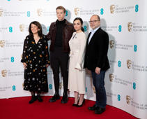 LONDON, ENGLAND - JANUARY 09:  (L-R) Pippa Harris, Will Poulter, Hayley Squires and Marc Samuelson attend the EE BAFTA Film Awards nominations announcement held at BAFTA on January 09, 2019 in London, England. (Photo by John Phillips/Getty Images)