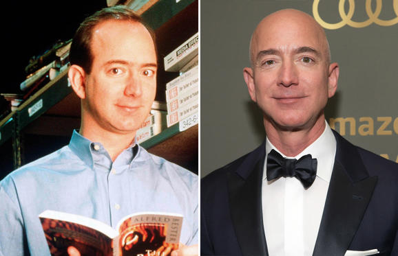 Slide 1 of 24: 298996 03: Jeff Bezos, Founder & Ceo Of Amazon.Com, Poses For Portrait January 1, 1997 In Seattle, Wa. (Photo By Paul Souders/Getty Images); CAPTION: BEVERLY HILLS, CA - JANUARY 06: Amazon CEO Jeff Bezos attends the Amazon Prime Video's Golden Globe Awards After Party at The Beverly Hilton Hotel on January 6, 2019 in Beverly Hills, California. (Photo by Emma McIntyre/Getty Images)