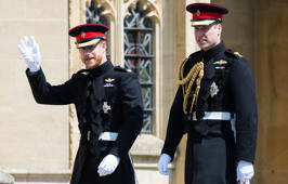 WINDSOR, ENGLAND - MAY 19:  Prince Harry, Duke of Sussex and Prince William, Duke of Cambridge attend the wedding of Prince Harry to Ms Meghan Markle at St George's Chapel, Windsor Castle on May 19, 2018 in Windsor, England. Prince Henry Charles Albert David of Wales marries Ms. Meghan Markle in a service at St George's Chapel inside the grounds of Windsor Castle. Among the guests were 2200 members of the public, the royal family and Ms. Markle's Mother Doria Ragland.  (Photo by Pool/Samir Hussein/WireImage)