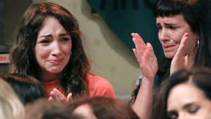 Argentine actresses Thelma Fardin (L) and Griselda Siciliani, members of the organization 'Argentine Actresses' -against sexual abuse- react during a press conference in Buenos Aires on December 11, 2018. - 'Argentine Actresses' announced they have filed a criminal complaint against actor Juan Darthes for allegedly having sexually abused actress Thelma Fardin -then minor- during a tour within the TV series 'El Patito Feo' (The Ugly Duckling), ten years ago. (Photo by MARCELO CAPECE / NOTICIAS ARGENTINAS / AFP) / Argentina OUT        (Photo credit should read MARCELO CAPECE/AFP/Getty Images)