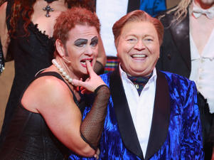 Craig McLachlan as Frank N Furter and Bert Newton as the Narrator pose after performing during a 'Rocky Horror Show' media call at the Comedy Theatre in Melbourne in 2015