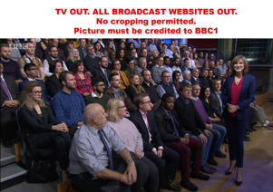 TV OUT. ALL BROADCAST WEBSITES OUT. No cropping permitted. Picture must be credited to BBC1. We are advised that videograbs should not be used more than 48 hours after the time of original transmission, without the consent of the copyright holder. Video grab taken from BBC1 of Fiona Bruce as she hosts her first Question Time on BBC1 after taking over the role from David Dimbleby.