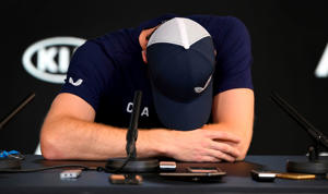 Andy Murray of Great Britain breaks down during a press conference in Melbourne on January 11, 2019, ahead of the Australian Open tennis tournament. - Injury-plagued former world number one Murray on January 11, 2019 said he is set to retire this year and hopes to make it till Wimbledon, but conceded the Australian Open could be his last event. (Photo by William WEST / AFP) / -- IMAGE RESTRICTED TO EDITORIAL USE - STRICTLY NO COMMERCIAL USE --        (Photo credit should read WILLIAM WEST/AFP/Getty Images)