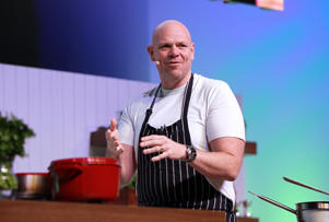 BIRMINGHAM - NOVEMBER 29: Tom Kerridge cooking in the Big Kitchen at the BBC Good Food Show at the NEC on 29 November, 2018 in Birmingham, England.  (Photo by MelMedia/GC Images)