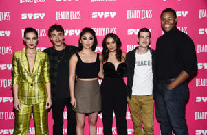 WEST HOLLYWOOD, CALIFORNIA - JANUARY 03: (L-R) Maria Gabriela de Faria, Benjamin Wadsworth, Lana Condor, Janel Parrish, Liam James and Luke Tennie arrive at SYFY's new series 'Deadly Class' premiere screening at The Roxy Theatre on January 03, 2019 in West Hollywood, California. (Photo by Amanda Edwards/Getty Images)