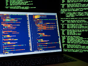 Hacker stealing data, identity theft and computer crime. Hacker workspace