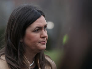 WASHINGTON, DC - JANUARY 09:  White House Press Secretary Sarah Sanders speaks to the media after appearing on a morning television show, on January 9, 2019 in Washington, DC. The U.S government is in its third week of a partial shutdown with Republicans and Democrats at odds on agreeing with President Donald Trump's demands for more money to build a wall along the U.S.-Mexico border.  (Photo by Mark Wilson/Getty Images)