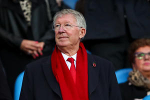 MANCHESTER, ENGLAND - NOVEMBER 11: Sir Alex Ferguson during the Premier League match between Manchester City and Manchester United at Etihad Stadium on November 11, 2018 in Manchester, United Kingdom. (Photo by Robbie Jay Barratt - AMA/Getty Images)