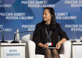 "Meng Wanzhou, Executive Board Director of the Chinese technology giant Huawei, attends a session of the VTB Capital Investment Forum ""Russia Calling!"" in Moscow, Russia October 2, 2014. Picture taken October 2, 2014. REUTERS/Alexander Bibik"