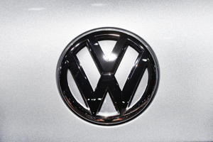 A Volkswagen logo is shown at the North American International Auto Show in Detroit, Monday, Jan. 14, 2019. (AP Photo/Paul Sancya)